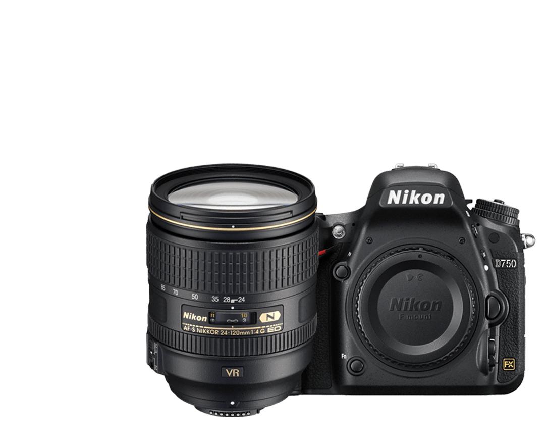 Câmera Nikon D750 + Objetiva AF-S NIKKOR 24-120 mm F4 ED VR
