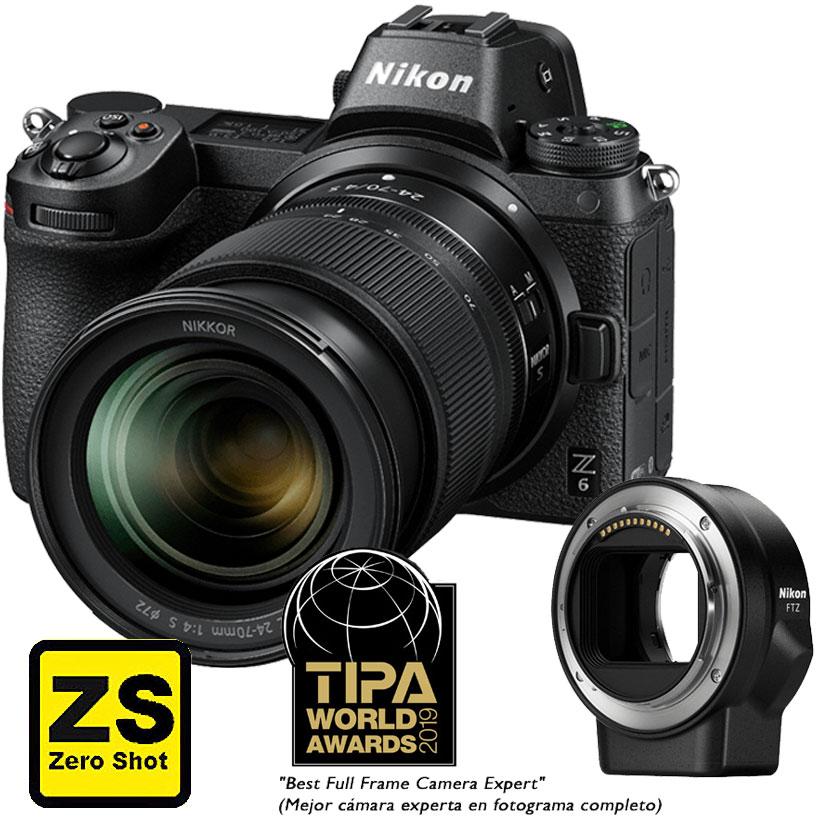 Câmera Nikon Z 6 + Objetiva NIKKOR Z 24-70mm f/4 S + Adaptador FTZ (Zero Shot)