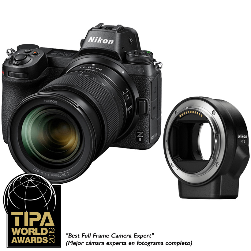 Câmera Nikon Z 6 + Objetiva NIKKOR Z 24-70mm f/4 S + Adaptador FTZ