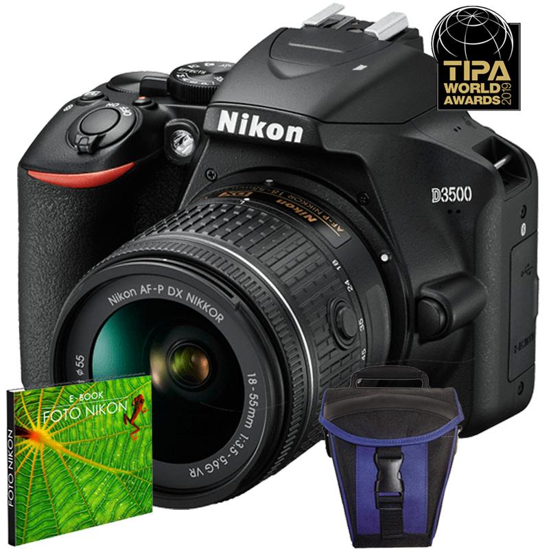 Câmera Nikon D3500 + Objetiva AF-P DX NIKKOR 18-55mm f/3.5-5.6G VR