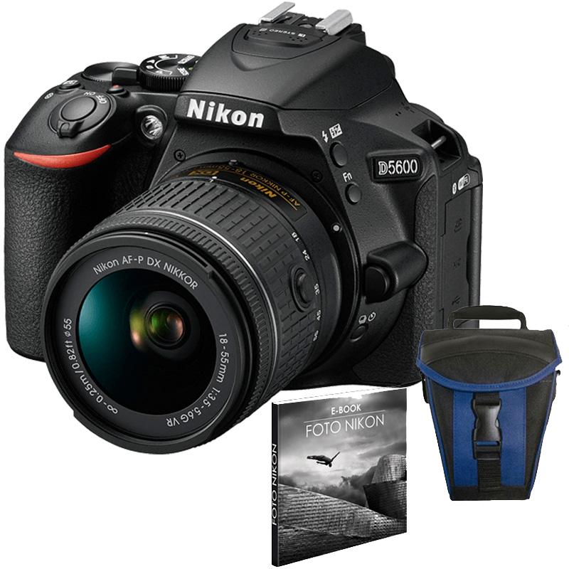 Câmera Nikon D5600 + Objetiva AF-P DX NIKKOR 18-55mm f/3.5-5.6G VR