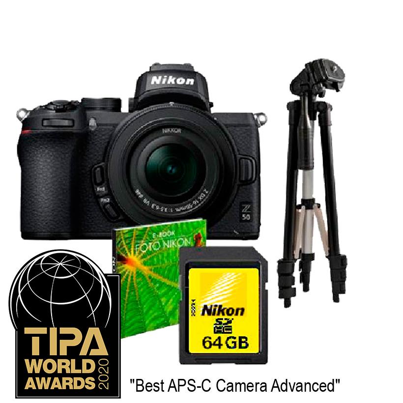 Câmera Nikon Z 50 + Objetiva NIKKOR Z DX 16-50mm f3.5-6.3 VR.