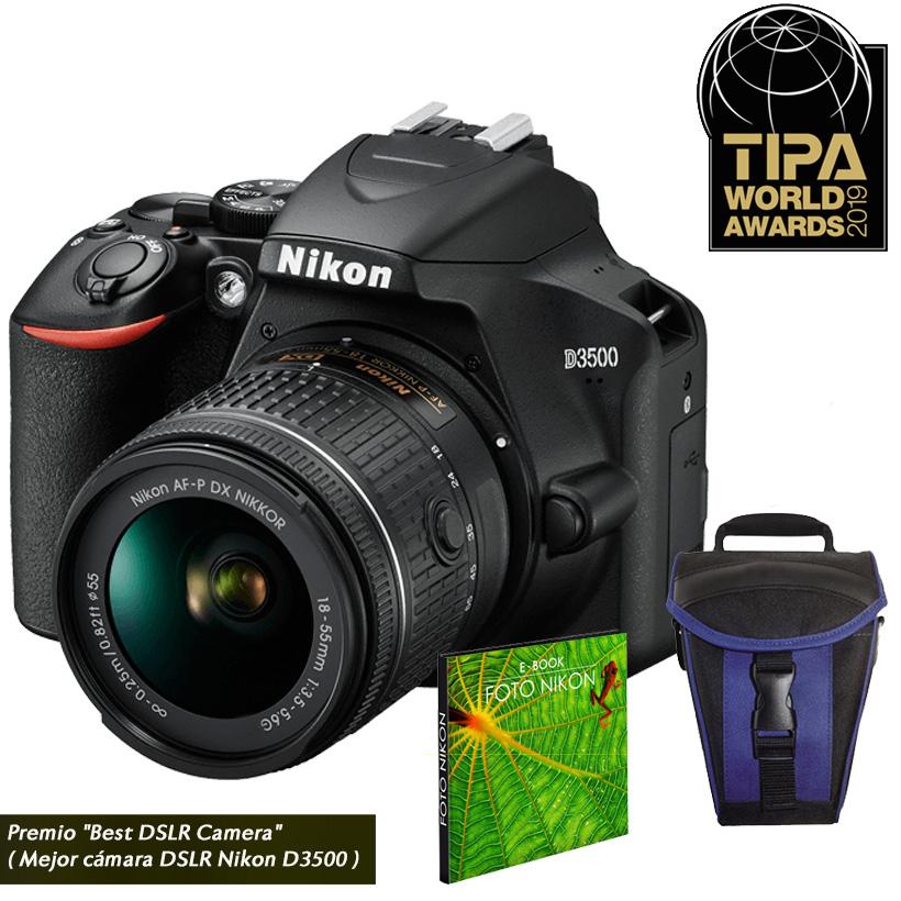 Câmera Nikon D3500 + Objetiva AF-P DX NIKKOR 18-55mm f/3.5-5.6G