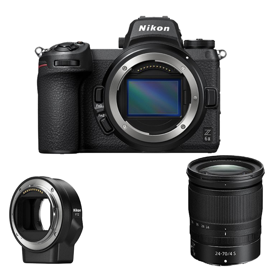 Câmera Nikon Z 6II + Objetiva NIKKOR Z 24-70 mm f/4 +  Adaptador FTZ