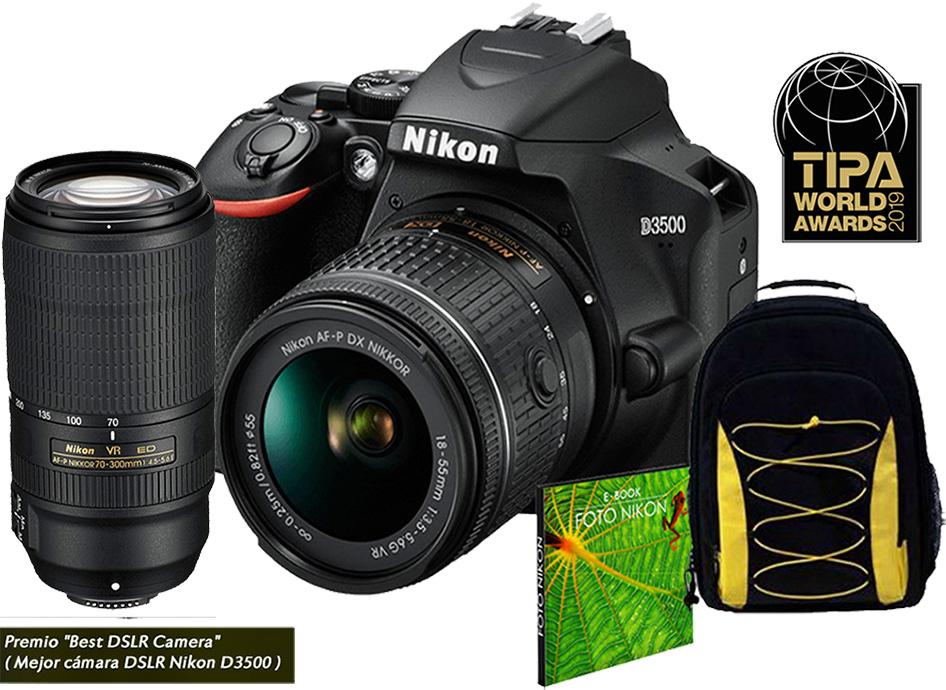 Câmera Nikon D3500 + Objetiva AF-P DX NIKKOR 18-55mmVR + AF-P DX NIKKOR 70-300 mm