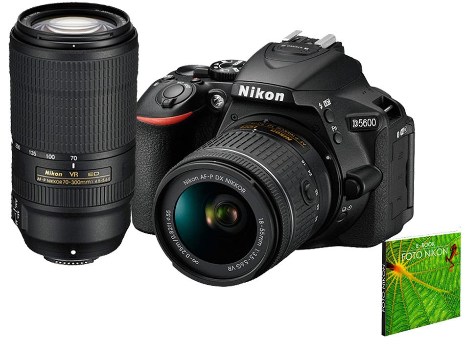 Câmera Nikon D5600 + Objetiva AF-P DX NIKKOR 18-55mm f/3.5-5.6G VR + Objetivo AF-P DX NIKKOR 70-300 mm f/4.5-6.3 G VR