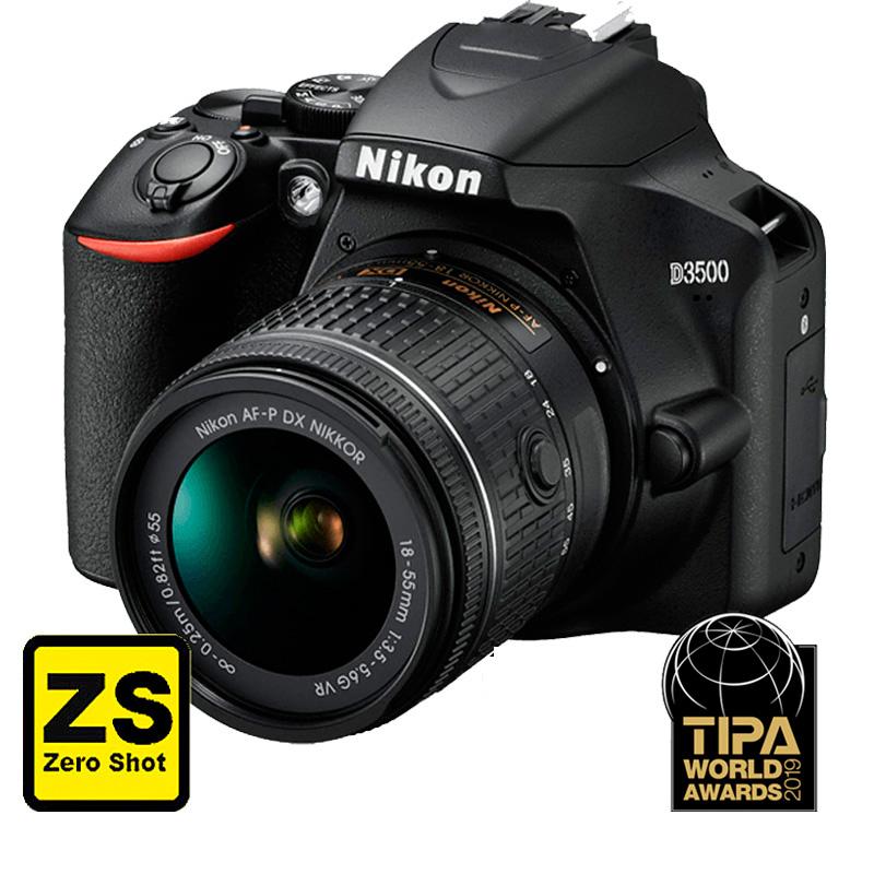 Câmera Nikon D3500 + Objetiva AF-P DX NIKKOR 18-55mm f/3.5-5.6G (Zero Shot)
