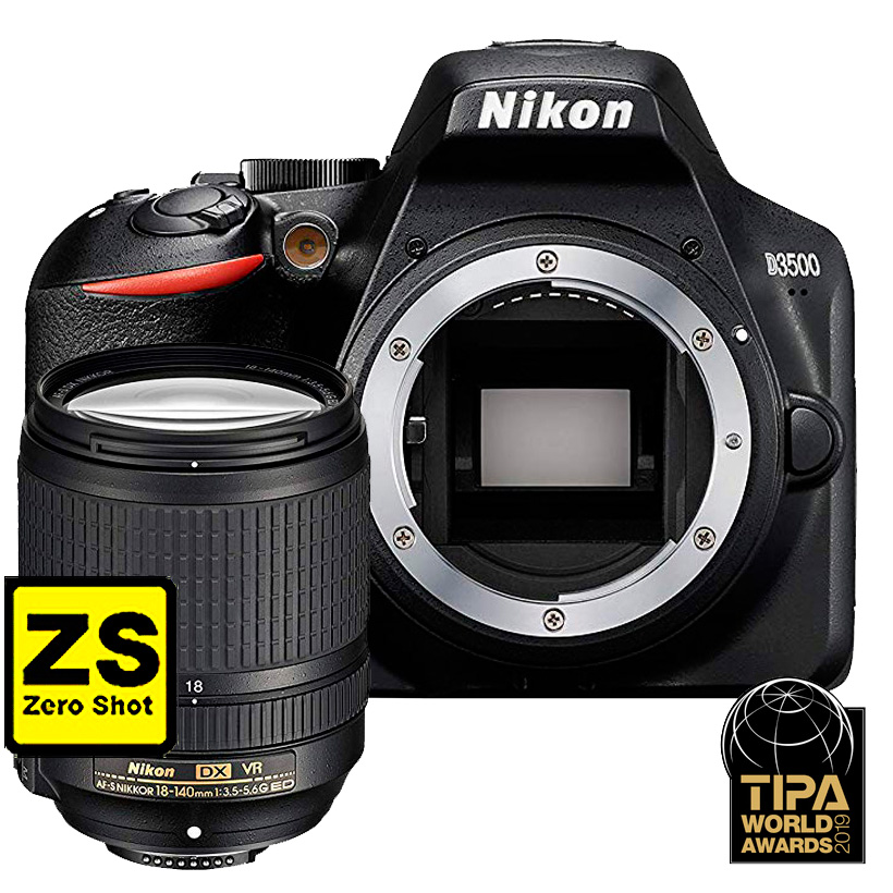 Câmera Nikon D3500 + Objetiva AFS NIKKOR 18-140 VR (Zero Shot)