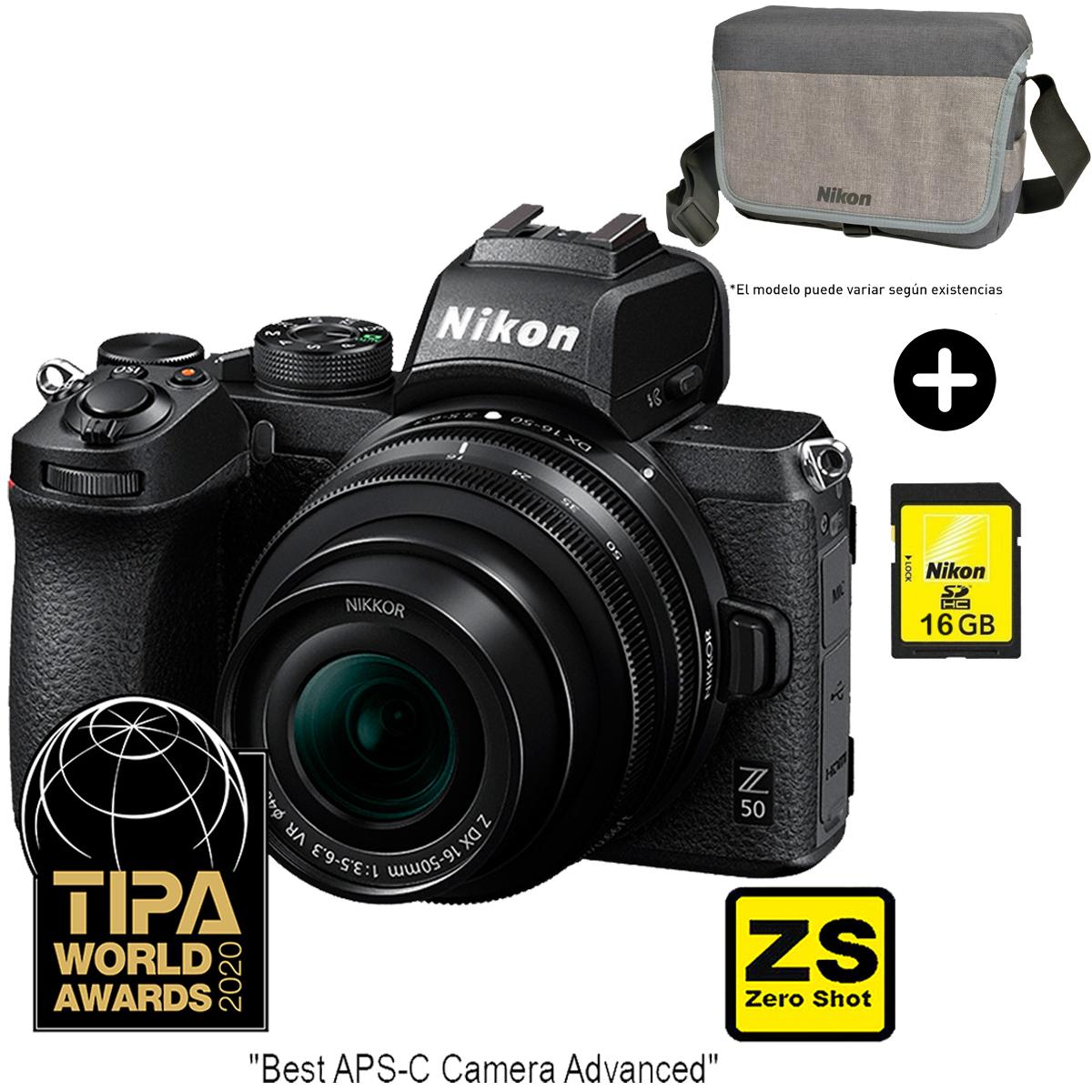 Câmera Nikon Z 50 + Objetiva NIKKOR Z 16-50 mm + Saco da câmera+cartão 16GB (Zero Shot)
