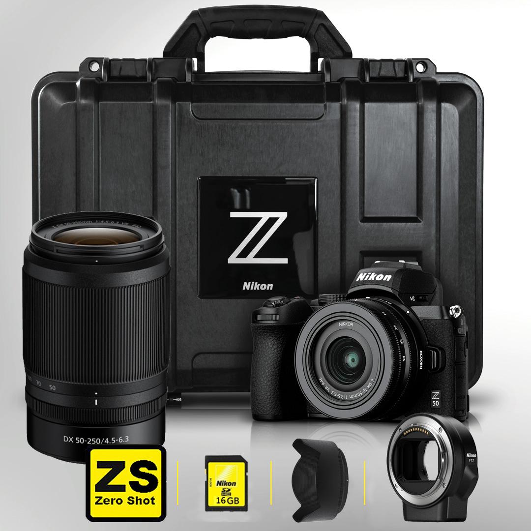 Câmera Nikon Z50 + Objetiva NIKKOR Z DX 16-50mm f3.5-6.3 VR +FTZ