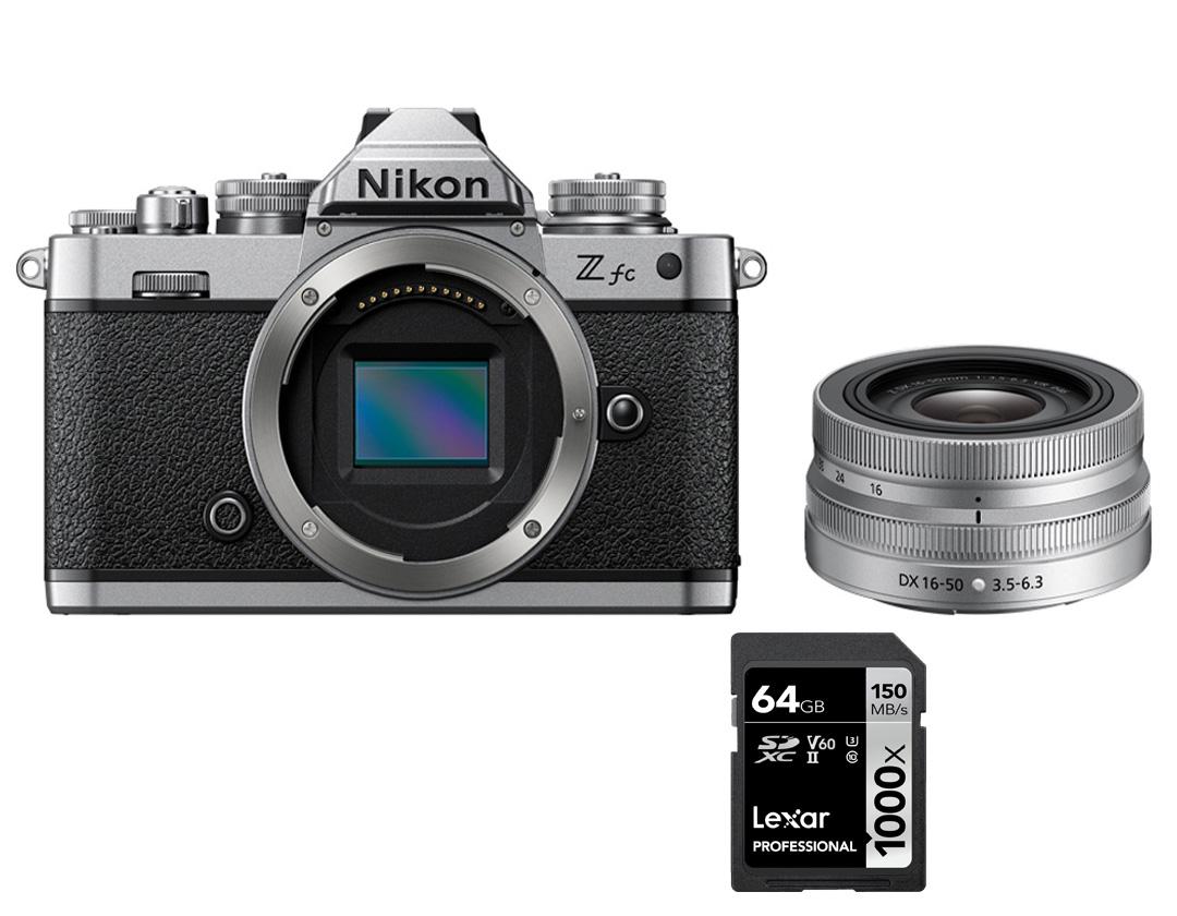 Câmera Nikon Z fc + NIKKOR Z DX 16-50mm f/3.5-6.3 VR (edição Silver) + SD 64GB 1000X