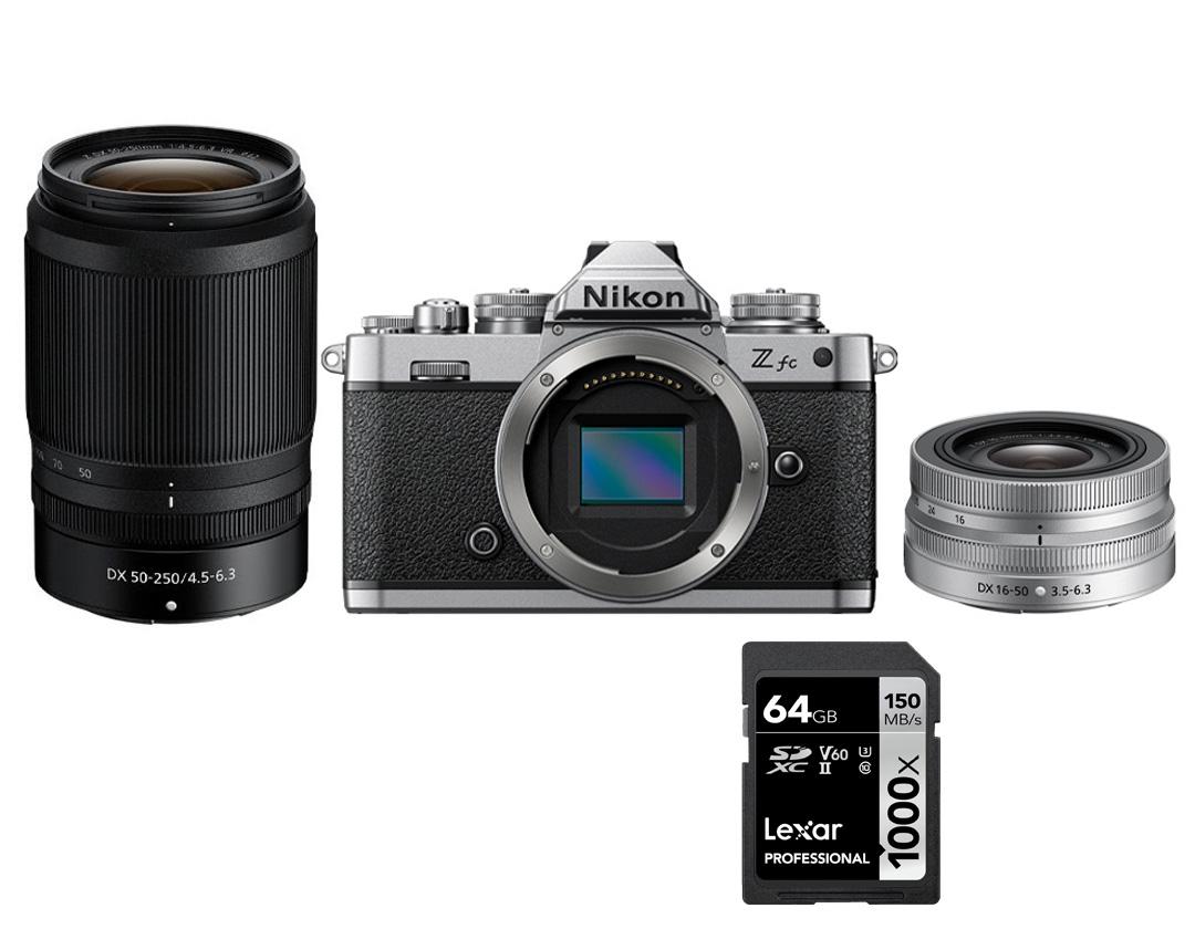 Câmera Nikon Z fc + NIKKOR Z DX 16-50 mm f/3.5-6.3 VR + NIKKOR Z DX 50-250mm f/4.5-6.3 VR + SD 64GB 1000X