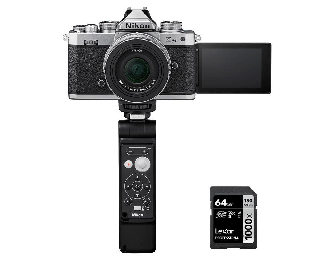 Kit de vlog de câmera Nikon Z fc + NIKKOR Z DX 16-50mm f/3.5-6.3 VR (edição Silver) + SD 64GB 1000X