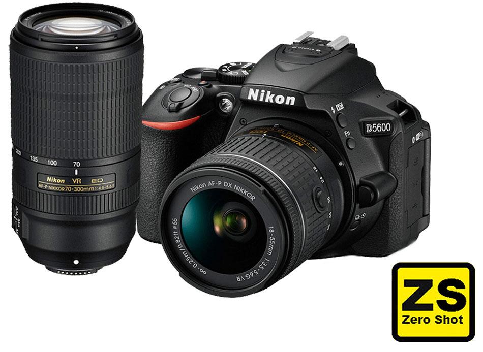 Câmera Nikon D5600 + Objetiva AF-P DX NIKKOR 18-55mm f/3.5-5.6G VR + Objetivo AF-P DX NIKKOR 70-300 mm f/4.5-6.3 G VR (Zero Shot)
